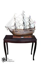 Vintage Model Sailing Ship Display Case & Stand HMS Victory 1805 Royal Navy