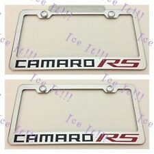 2X Camaro RS Red Stainless Steel License Plate Frame Rust Free W/ Caps