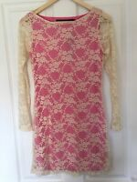 New Look Designer Range Pink / Cream Lace Dress Size S 8-10 Brand New With Tags