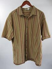 Axis Mens Button Front Biege Tan Stripe Bowling Hawaiian Lounge Camp Sz XL