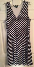 Woman's Lauren Ralph Lauren 1X Navy Blue Striped Dress