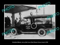 OLD LARGE HISTORIC PHOTO OF ROCKFORD ILLINOIS, THE LOVES PARK GROCER TRUCK c1920