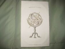 ANTIQUE 1819 ARMILLARY SPHERE ASTRONOMY SCIENCE DEVICE COPPERPLATE PRINT EARTH N