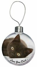Black Cat 'Love You Dad' Christmas Tree Bauble Decoration Gift, DAD-159CB