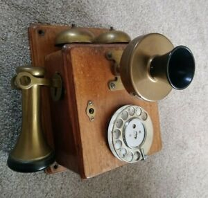 Antique Wall Mounted Telephone, Possibly French, Oak Brass Bakelite