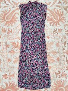 Antique 1930s Purple &Blue Silk Cheongsam Floral Print Ponku Qipao Dress Vintage