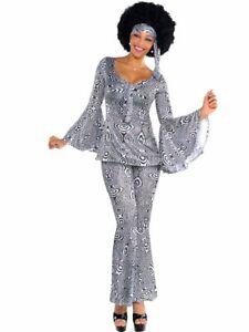 Dancing Queen Costume Ladies 1970's Fancy Dress 70s Disco Diva Groovy Size 8-16