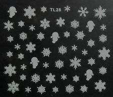 Accessoire ongles, nail art ,Stickers noël : flocons de neige blancs