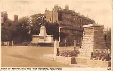 uk3549 road of remembrance and war memorial folkestone kent real photo uk