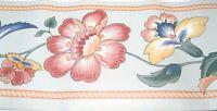 Wallpaper Border Flower Vine Floral Jacobean Powder Blue Rope Trim 554037 NIP