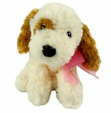"Caltoy Puppy Dog Beige Plush 12"" Pink Bow Brown Ears Soft Floppy Stuffed Animal"