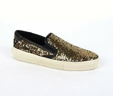 Saint Laurent Women's Gold and Silver Sequin Slip On Sneaker 365659 8180