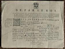 Congé Absolu de la Milice d'Arbois Bataillon de Salins 1740 Besançon De Vanolles