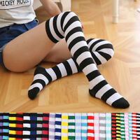 1Pair Womens Over The Knee Socks Plain & Stripe Thigh High Adults Stretchy Socks