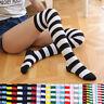1Pair Womens Over The Knee Socks Plain & Stripe Thigh High Adults Stretchy Socks