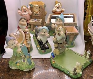 Disney Snow White And The Seven Dwarfs 7 Piece Desk Set Vintage 1999 Awesome