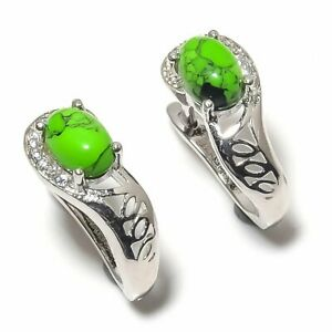 """Green Turquoise, Cubic Zirconia 925 Sterling Silver Earring Jewelry 0.59"""" E-106"""