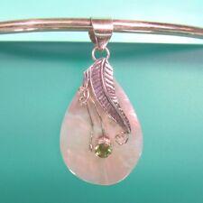 "1 3/4"" Mother of Pearl Peridot Teardrop 925 Sterling Silver Pendant Leaf Design"