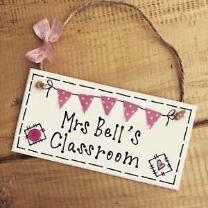 Classroom Sign Christmas Gift Bunting Personalised Plaque Door Present Teacher