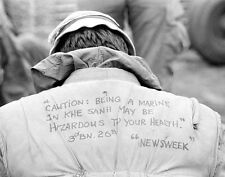"U.S. Marine shows a message on his flack vest 8""x 10"" Vietnam War Photo 108"