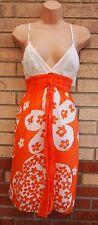 Studio M Bianco Arancione Cinturino cintura in vita una linea Floreale Abito Estivo 14 L