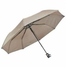Cool Rainy Stripe Printed Art Three Folds Automatic Foldable Umbrella (Brown)