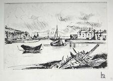 """L.A. DEMANGEON 1909/1979 Pointe sèche """"Fécamp, Bassin Est"""""""