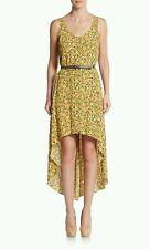 NEW BCBGeneration Women's Hi-lo Sleeveless Yellow Multicolor Belt Dress XS $118