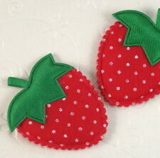 "US SELLER - 50 pcs x 1.75"" Padded Polka Dot Cotton Strawberry Appliques ST394"