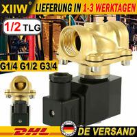 1/2X Magnetventil Messing AC 230V NC 0-10 bar 150°C für Wasser Luft Öl 1/2 3/4''