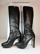 "A Vintage Miss Dior black Python knee boot shoe, 4.5"" heels, size IT 39."