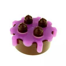 LEGO - Duplo Food Cake with Dark Pink Frosting - Reddish Brown