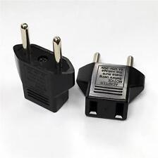 US Flat to EU European Round Pin Travel Charger Adapter AC Power Plug Converter