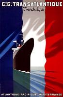 "Retro Travel Poster *FRAMED* CANVAS PRINT Mediterranean Cruise Ship 16""x12"""