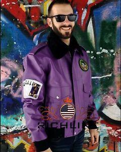 Batman Henchmen Joker Goon Purple Bomber Jacket with Faux Fur Collar