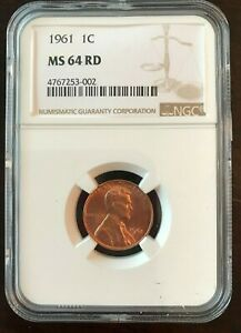 1961 Lincoln Cent - NGC GRADED COIN - MS64 RED