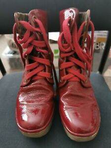 FLY LONDON Red Leather Ankle Boots size 39