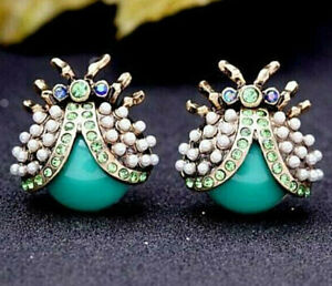 Adorable LADY BUG Turquoise Blue Rhinestone Mini Pearl Betsey Johnson Earrings