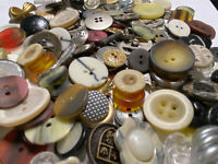 COOLEST MIX! 100 pcs MIXED LOT of OLD-VINTAGE & NEW Buttons ALL TYPES & SIZES