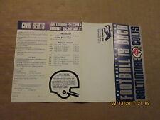 CFL Baltimore CFL Colts Vintage Defunct 1994 Football Season Ticket Brochure