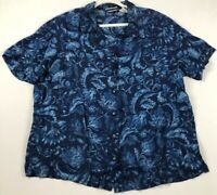 Fashion Bug Women's Short Sleeve Button Up Shirt 22 24 Blue Floral Shoulder Pads