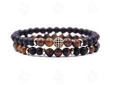 Two Tigers Eye Natural Stone Beads Bracelet Onyx Agate Reiki Meditation Gift UK