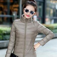 Women Packable Down Jacket Ultralight Stand Collar Coat Winter Hoodie Plus Sizes