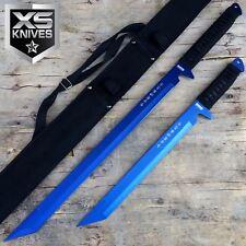"""27"""" & 18"""" Blue Full Tang Blade Machete Tactical Katana Ninja Sword w/Sheath"""