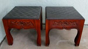 Pair of Matching 20th Century French Country Drexel Bonaventure Slate End Tables