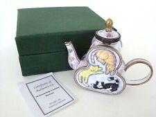 KELVIN CHEN Enamel Hinged Miniature Teapot Circling Cats ENK622