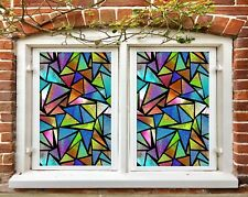 3D Colorful Blocks R206 Window Film Print Sticker Cling Stained Glass UV Su
