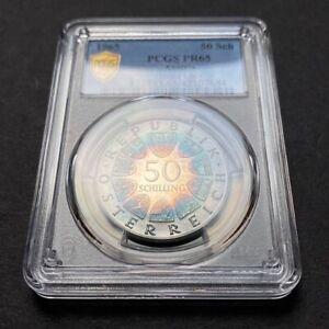 PR65 1965 Austria Silver 50 Schilling Proof PCGS Secure, Pretty Rainbow Toned