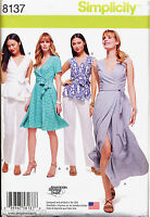 SIMPLICITY SEWING PATTERN 8137 MISSES 10-18 WRAP DRESS & MAXI, TOP & PANTS