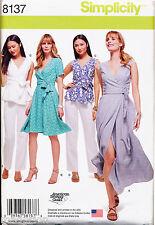 SIMPLICITY SEWING PATTERN 8137 MISSES 10-18 WRAP DRESS & MAXI, TOP & PANTS